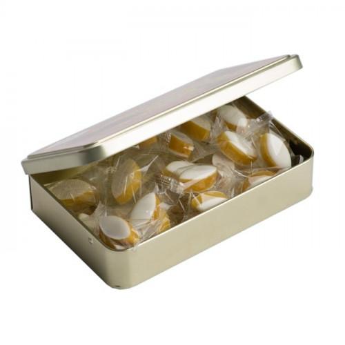 Boîte ouverte de petits calissons amande du Roy René, collection Cézanne